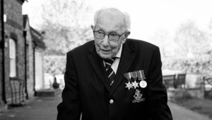 Captain Tom Moore, the British Army vet who raised £45 million for charity during the pandemic.