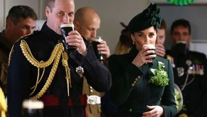 Wiliam, Duke of Cambridge and Catherine, Duchess of Cambridge meets with Irish Guards after attending the St Patrick\'s Day parade at Cavalry Barracks in Hounslow, where they presented shamrock to officers and guardsmen of 1st Battalion the Irish Guards on March 17, 2019 in Hounslow, England. (Photo by Gareth Fuller - WPA Pool/Getty Images)