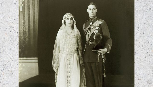 Prince Albert, Duke of York (future George VI) and Elizabeth Bowes-Lyon at ther wedding. Prince Albert is wearing the full dress uniform of the Royal Air Force with the rank of group captain.