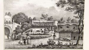 An illustration of London Zoo in the 1800s.