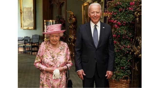 Queen Elizabeth II and United States President Joe Biden.