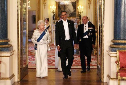 President Obama and Queen Elizabeth.