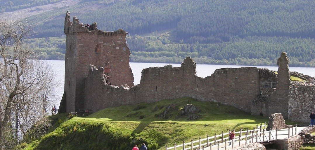 """Urquhart Castle distance 3"" by Wknight94 - Own work. Licensed under CC BY-SA 3.0 via Wikimedia Commons."