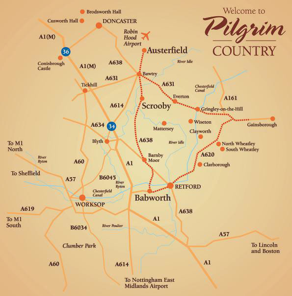 Scrooby England Map.Join Pilgrims On The Mayflower Trail British Heritage