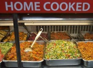 As well as the traditional bagels and fry-ups, Gaby's carries mountains of freshly -prepared stews, salads and veg