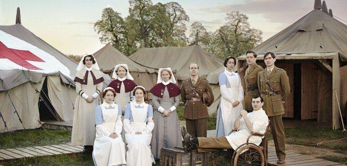 Programme Name: The Crimson Field - TX: n/a - Episode: Generics (No. n/a) - Picture Shows: (c/w from back left) Sister Joan Livesey (SURANNE JONES), Sister Margaret Quayle (KERRY FOX), Matron Grace Carter (HERMIONE NORRIS), Lieutenant-Colonel Roland Brett (KEVIN DOYLE), Kitty Trevelyan (OONA CHAPLIN), Captain Thomas Gillan (RICHARD RANKIN), Captain Miles Hesketh-Thorne (ALEX WYNDHAM), Corporal Peter Foley (JACK GORDON), Flora Marshall (ALICE ST CLAIR), Rosalie Berwick (MARIANNE OLDHAM) -