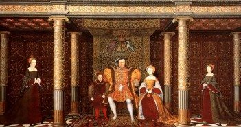 Detail of The Family of Henry VIII, now at Hampton Court Palace, c. 1545:  Left to Right: The Lady Mary, Prince Edward, Henry VIII, Jane Seymour (not Kateryn Parr) and the Lady Elizabeth