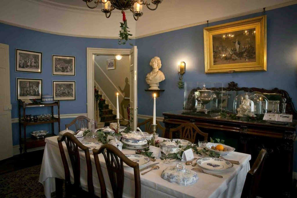 Dickens's dining table set for Christmas dinner at the Charles Dickens Museum