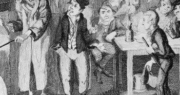 George Cruikshank engraving showing the Artful Dodger introducing Oliver to Fagin