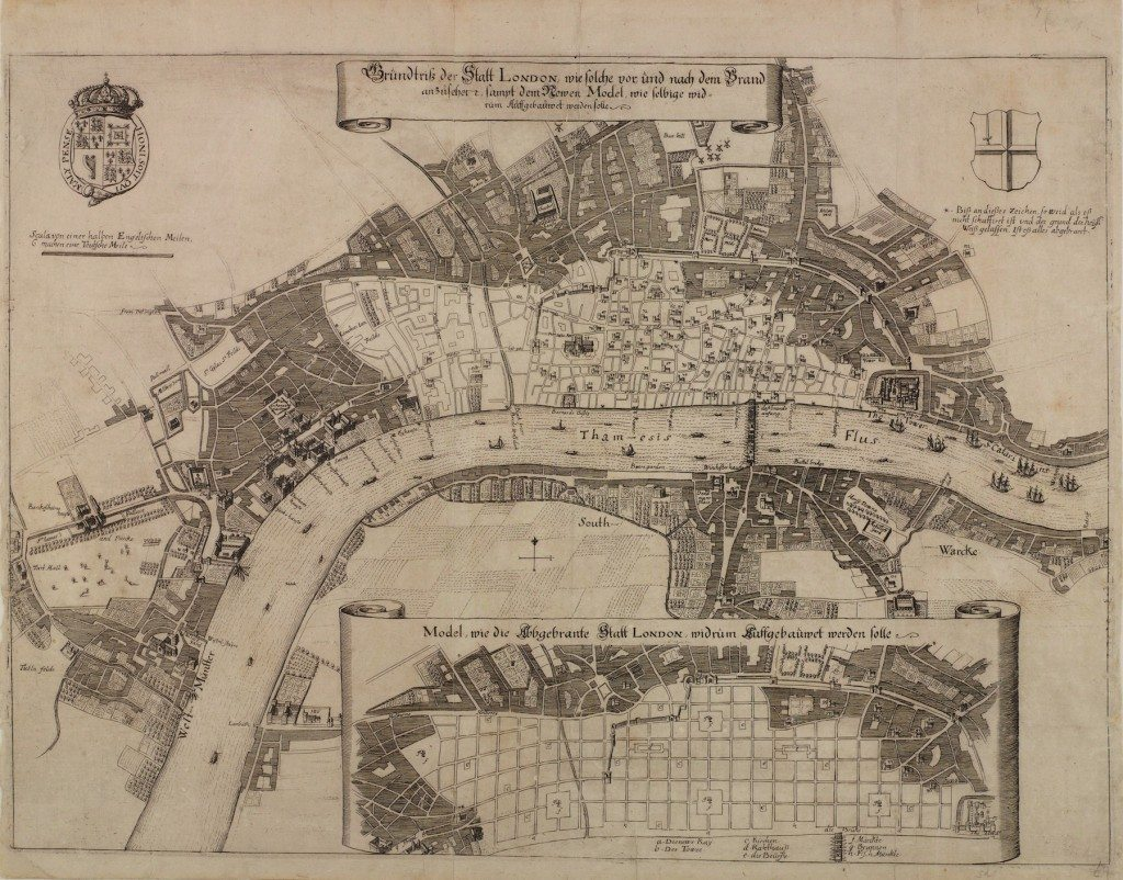 Plan for rebuilding London after the Great Fire attributed to Robert Hooke (c) London Metropolitan Archives, City of London