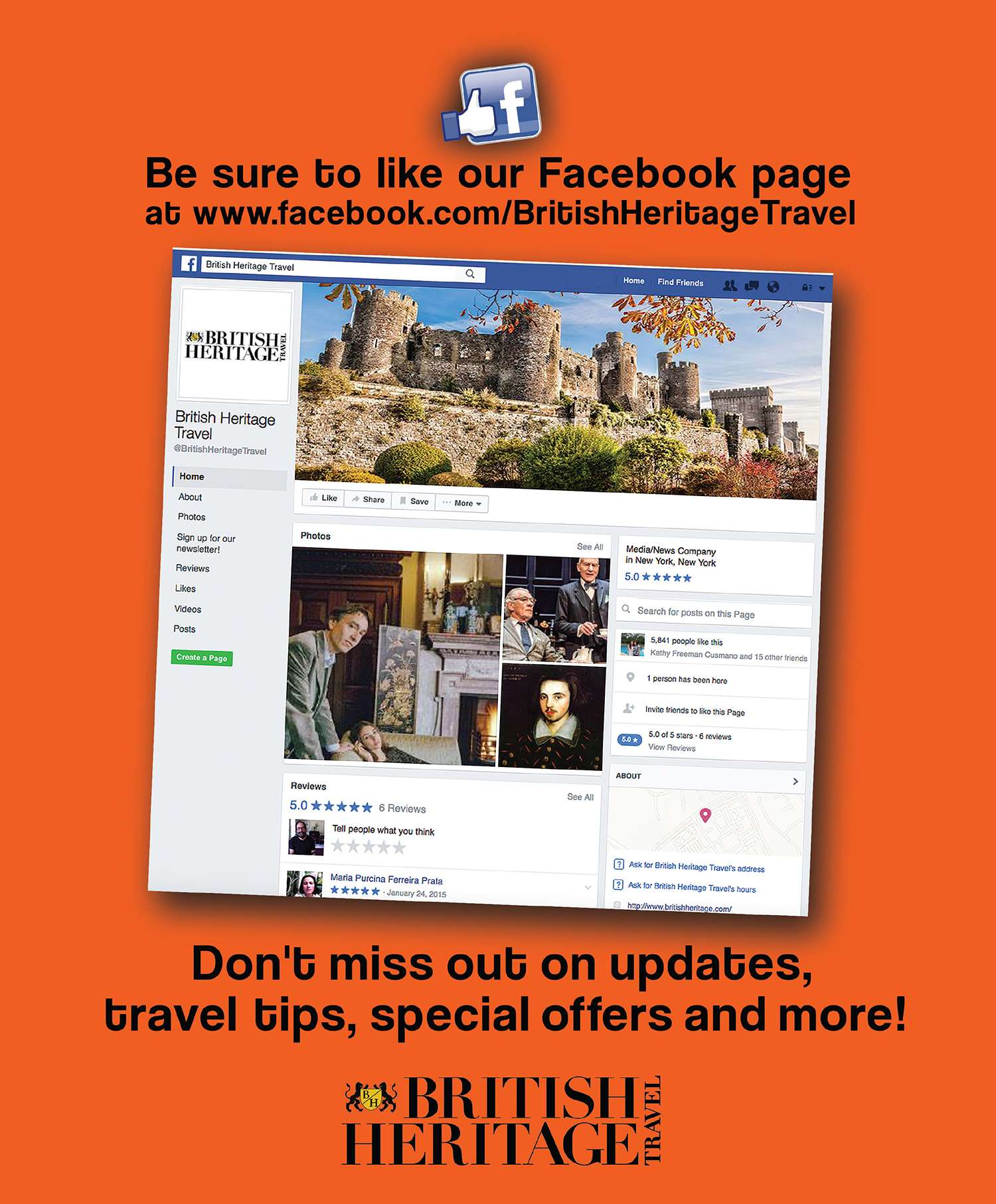 Like British Heritage Travel on Facebook