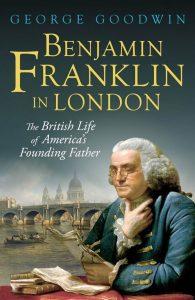 Benjamin Franklin holding a book